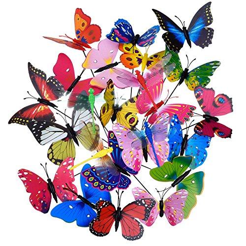 20 piezas estacas de mariposas de jardín y 4 piezas estacas de libélulas adornos de jardín para decoración de patio fiesta
