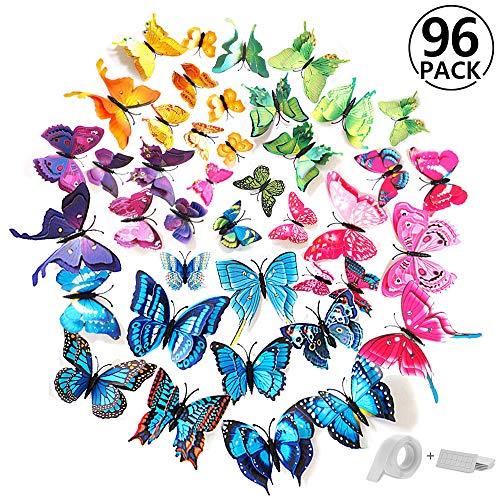 96 piezas alas dobles mariposa pegatinas de pared etiquetas engomadas mariposas decoración de la pared con imán y pegatinas para hogar casa habitación