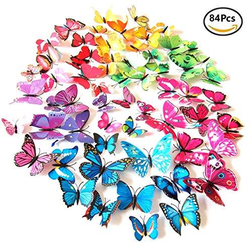 84 piezas 3d pegatinas de mariposa