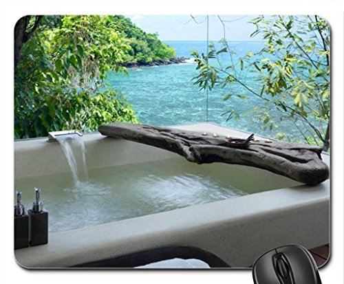 Relaxing jacuzzi bath overlooking the ocean mouse pad