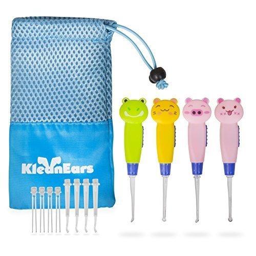 Niños cera remover herramienta bebé seguro 4 pcs led iluminación oído elegir cuchara remover cera cureta pinzas cuchara de oído limpieza