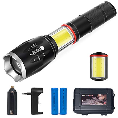 Linterna led recargable tactical flashlight 2 en 1 golden frontal light con zoom ajustable