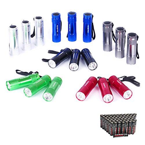 18pcs mini linterna llavero led linternas portátiles de aluminio premium ligero y duradero mochilero con correa y 54 pilas aaa